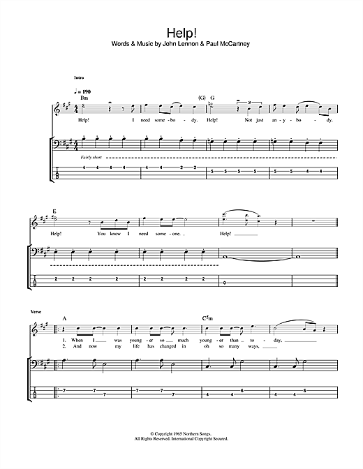 Tablature guitare Help! de The Beatles - Tablature Basse