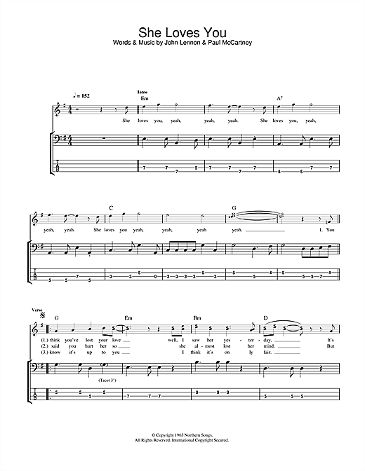 Tablature guitare She Loves You de The Beatles - Tablature Basse