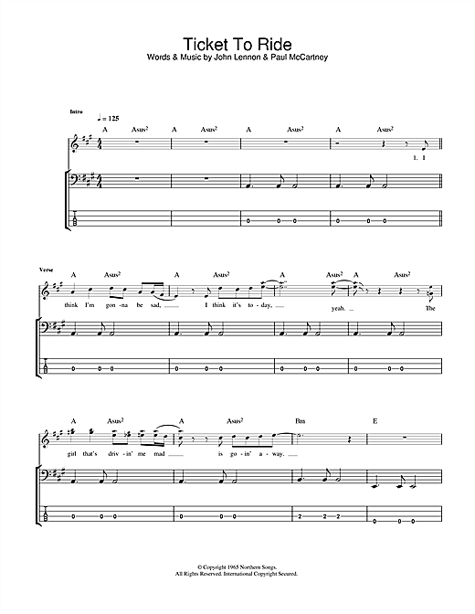 Tablature guitare Ticket To Ride de The Beatles - Tablature Basse