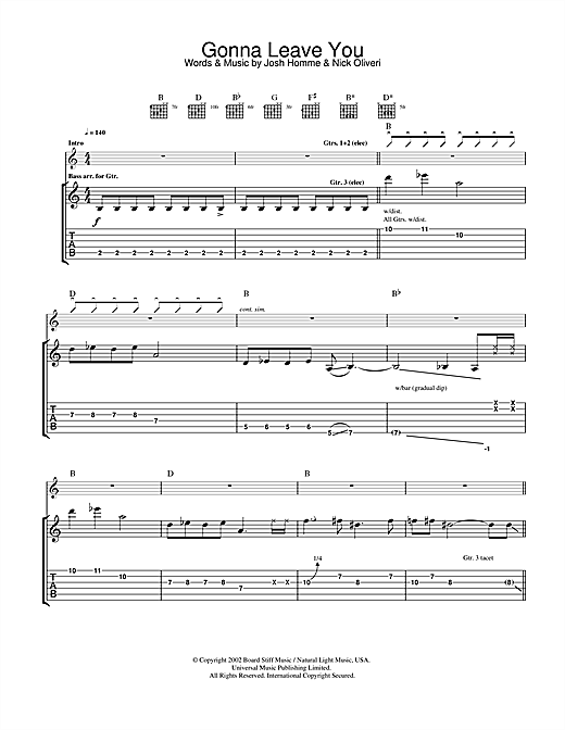 Tablature guitare Gonna Leave You de Queens Of The Stone Age - Tablature Guitare