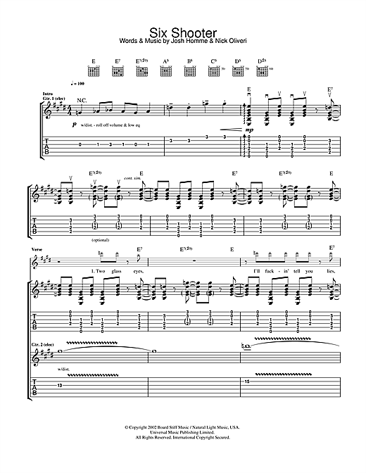 Tablature guitare Six Shooter de Queens Of The Stone Age - Tablature Guitare