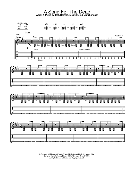 Tablature guitare A Song For The Dead de Queens Of The Stone Age - Tablature Guitare