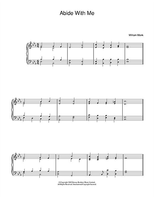 Partition piano Abide With Me de William Monk - Piano Solo