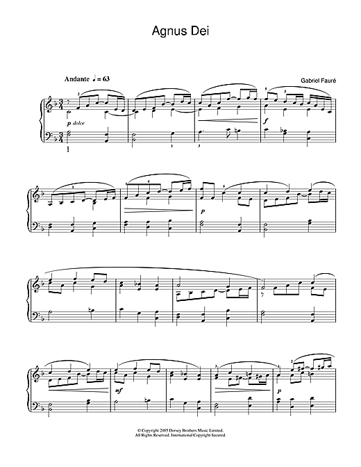 Partition piano Agnus Dei (from Requiem) de Gabriel Faure - Piano Solo