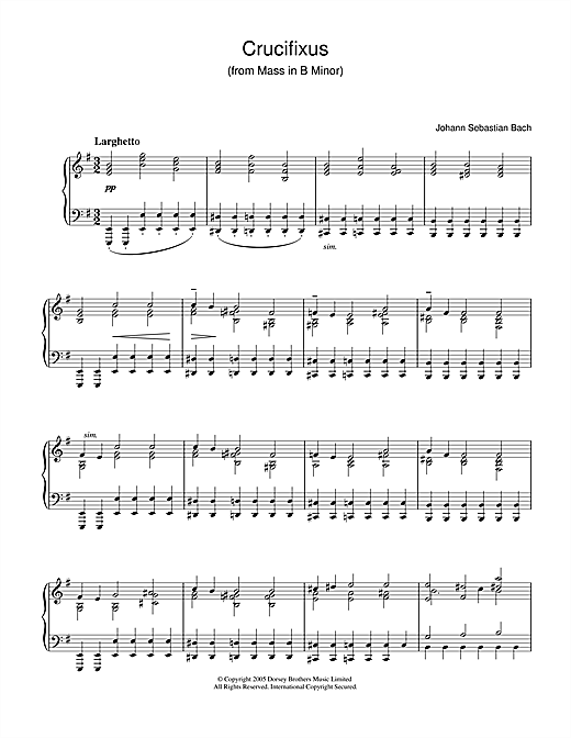 Partition piano Crucifixus (from Mass In B Minor) de Johann Sebastian Bach - Piano Solo