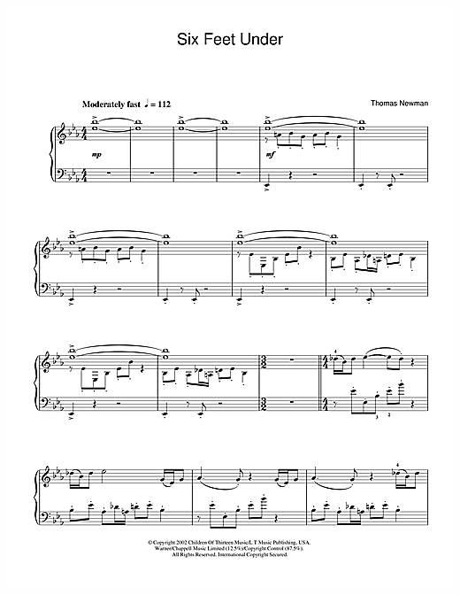 Partition piano Theme from Six Feet Under de Thomas Newman - Piano Solo