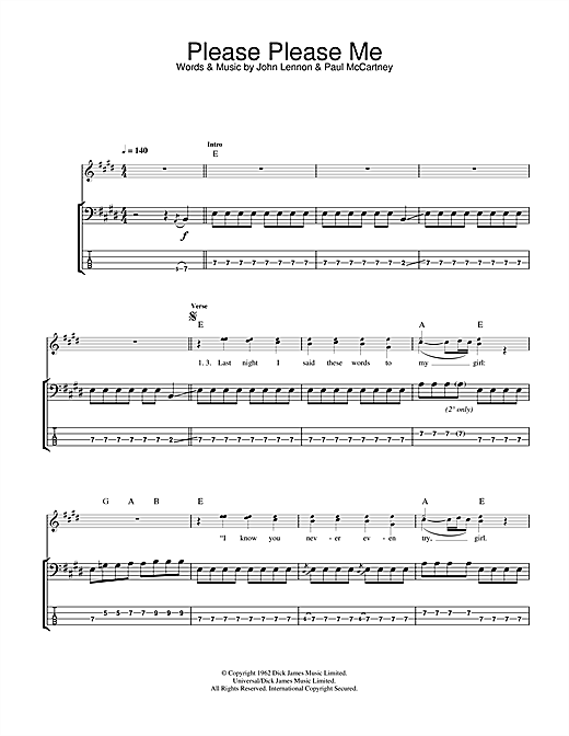 Tablature guitare Please Please Me de The Beatles - Tablature Basse