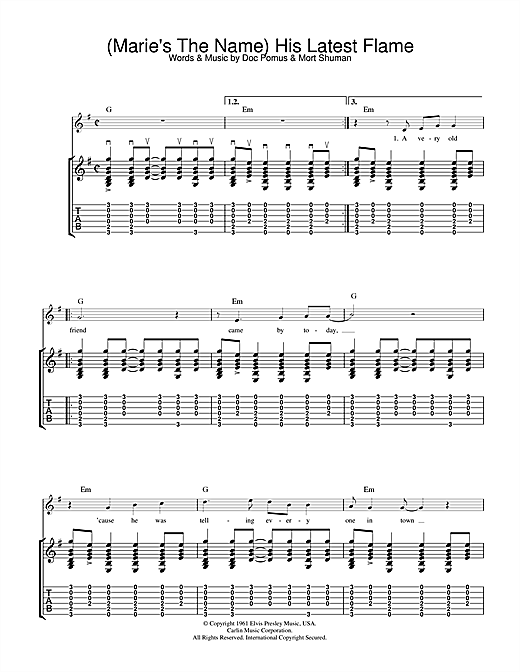 (Marie's The Name) His Latest Flame (Guitar Tab)