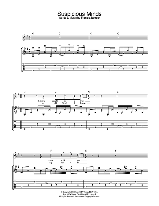 Tablature guitare Suspicious Minds de Elvis Presley - Tablature Guitare