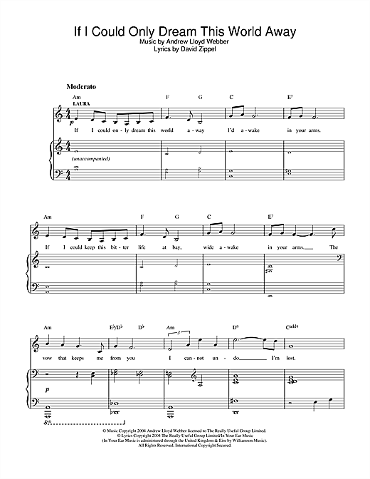 If I Could Only Dream This World Away (from The Woman In White) Sheet Music