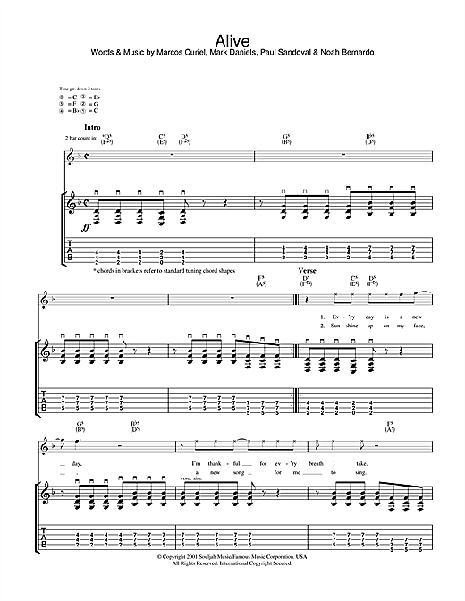 Tablature guitare Alive de P.O.D. (Payable On Death) - Tablature Guitare