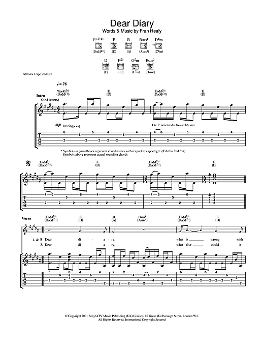 Tablature guitare Dear Diary de Travis - Tablature Guitare