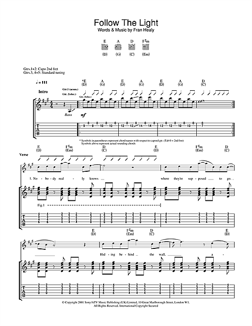 Tablature guitare Follow The Light de Travis - Tablature Guitare