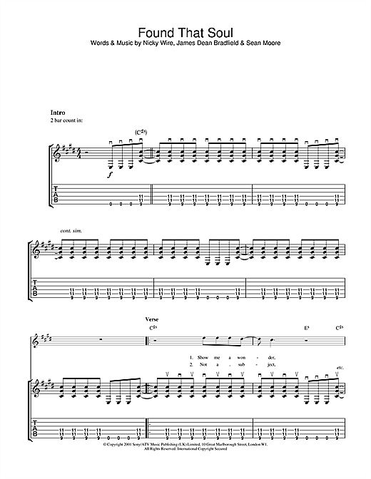 Tablature guitare Found That Soul de The Manic Street Preachers - Tablature Guitare