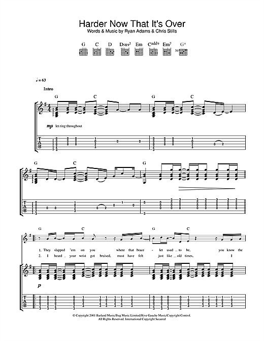 Tablature guitare Harder Now That It's Over de Ryan Adams - Tablature Guitare