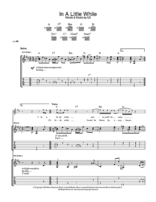 In A Little While Sheet Music