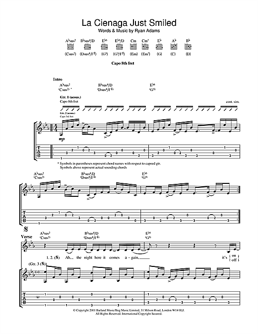 Tablature guitare La Cienega Just Smiled de Ryan Adams - Tablature Guitare