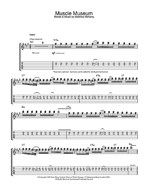 Muscle Museum Sheet Music