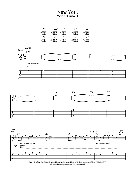 Tablature guitare New York de U2 - Tablature Guitare