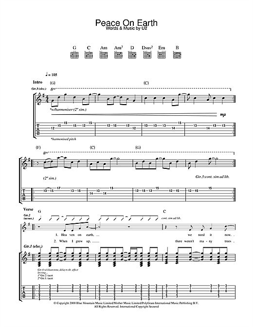 Tablature guitare Peace On Earth de U2 - Tablature Guitare