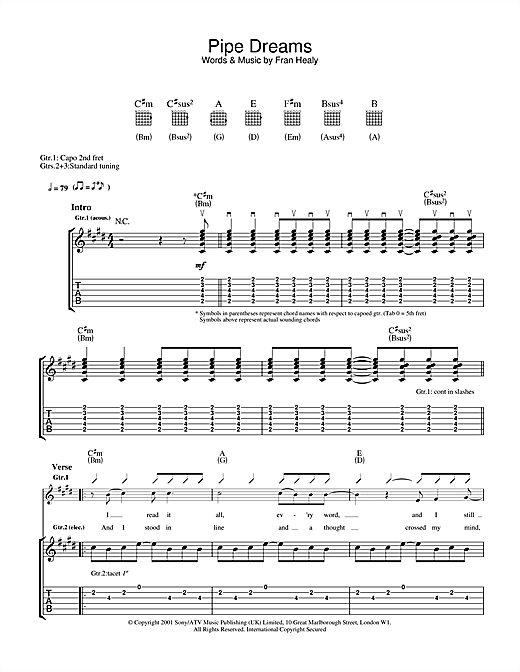 Tablature guitare Pipe Dreams de Travis - Tablature Guitare