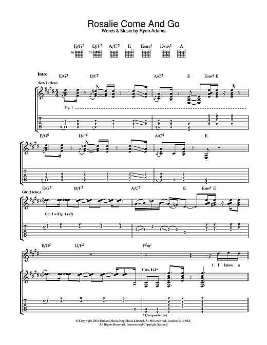 Tablature guitare Rosalie Come And Go de Ryan Adams - Tablature Guitare