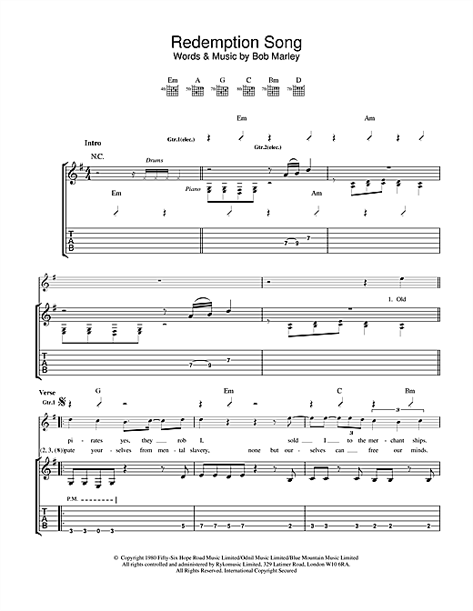 Tablature guitare Redemption Song de Bob Marley - Tablature Guitare