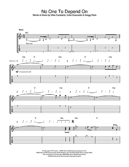 Tablature guitare No One To Depend On de Santana - Tablature Guitare