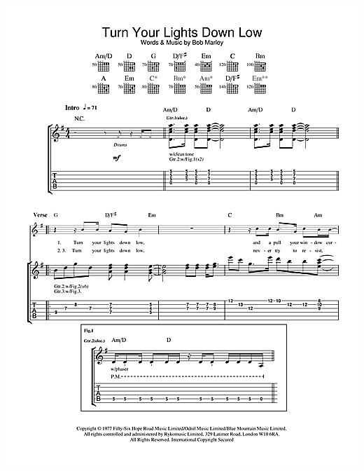 Turn Your Lights Down Low Sheet Music