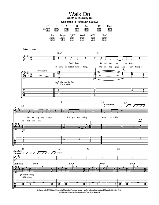 Tablature guitare Walk On de U2 - Tablature Guitare