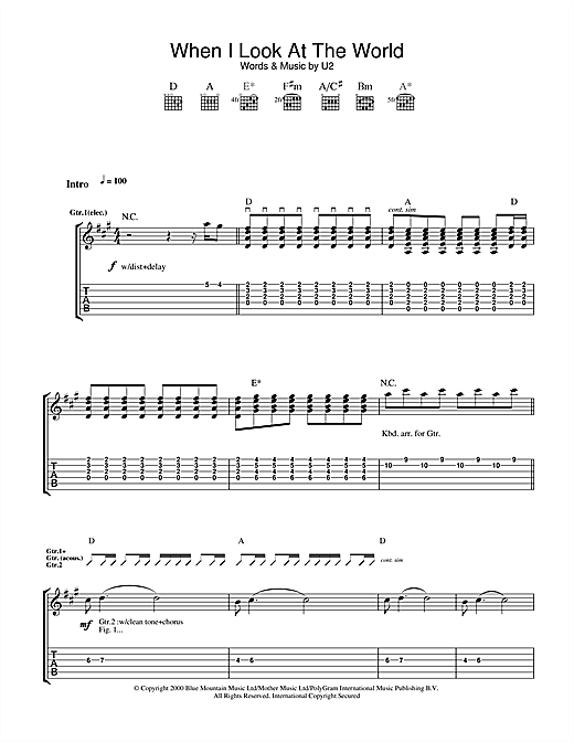 Tablature guitare When I Look At The World de U2 - Tablature Guitare