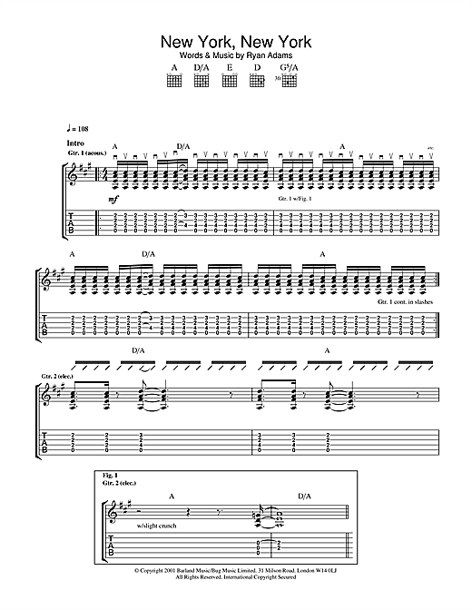 Tablature guitare New York, New York de Ryan Adams - Tablature Guitare