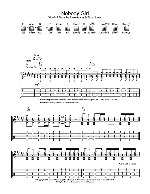 Tablature guitare Nobody Girl de Ryan Adams - Tablature Guitare