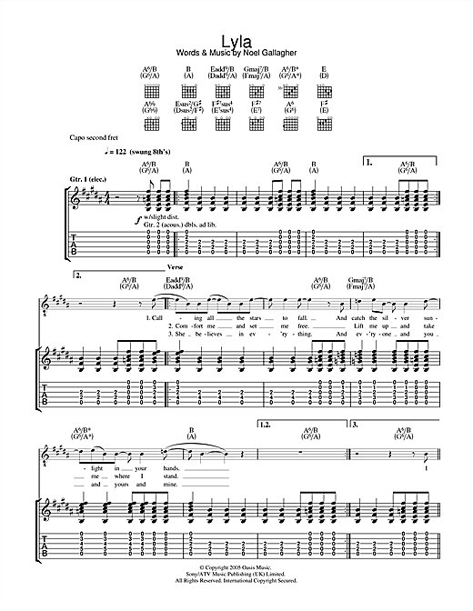 Tablature guitare Lyla de Oasis - Tablature Guitare