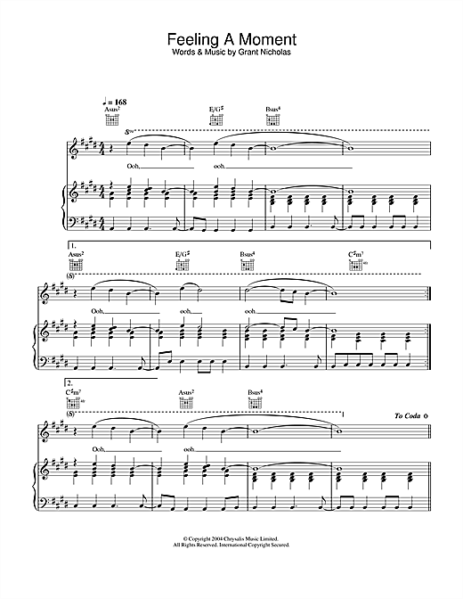 Feeling A Moment (Piano, Vocal & Guitar (Right-Hand Melody))
