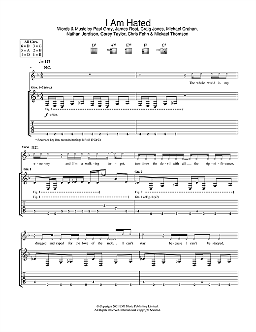 Tablature guitare I Am Hated de Slipknot - Tablature Guitare