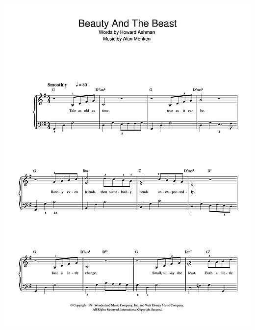 Partition piano Beauty And The Beast (from Beauty And The Beast) de Alan Menken - Piano Facile
