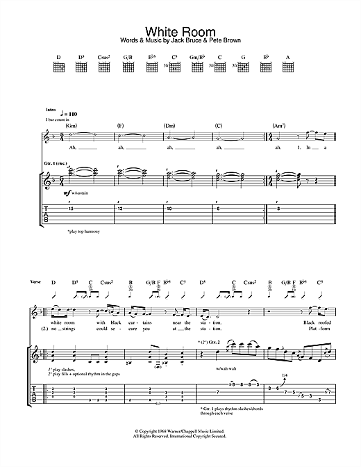 White Room Sheet Music