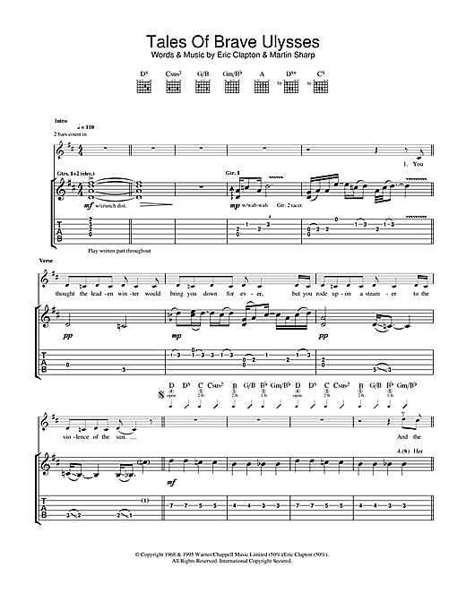 Tablature guitare Tales Of Brave Ulysses de Cream - Tablature Guitare