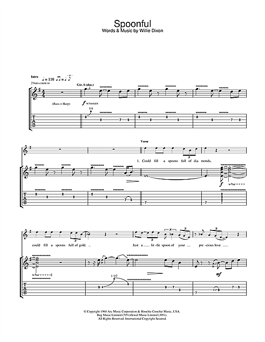 Spoonful Sheet Music