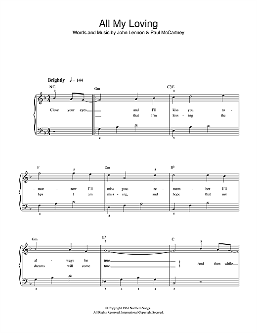 Partition piano All My Loving de The Beatles - Piano Facile
