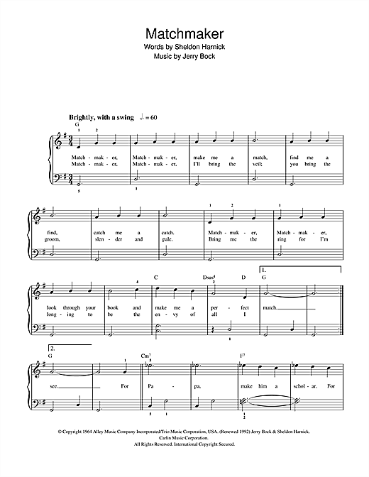 Partition piano Matchmaker (from The Fiddler On The Roof) de Jerry Bock - Piano Facile