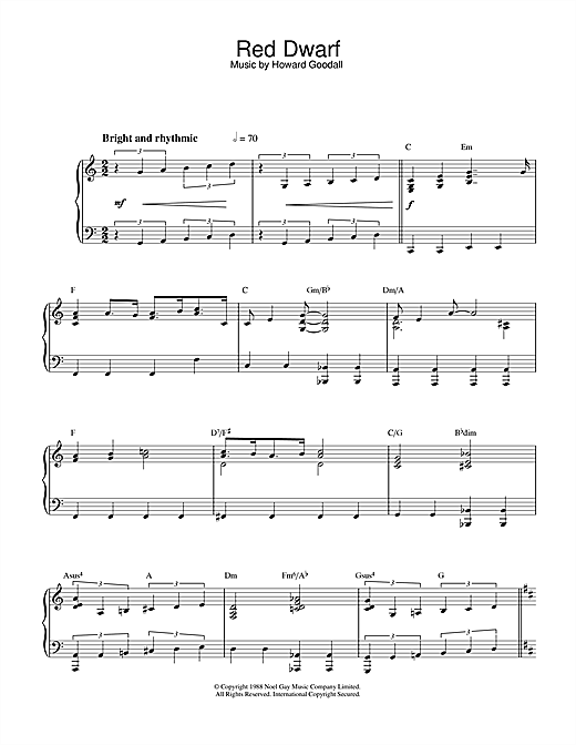 Theme from Red Dwarf Sheet Music