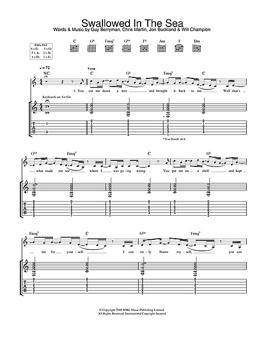 Tablature guitare Swallowed In The Sea de Coldplay - Tablature Guitare
