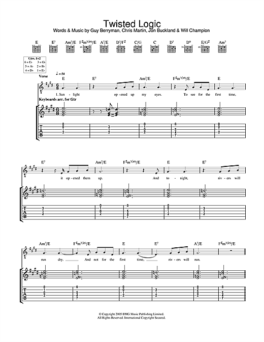 Tablature guitare Twisted Logic de Coldplay - Tablature Guitare