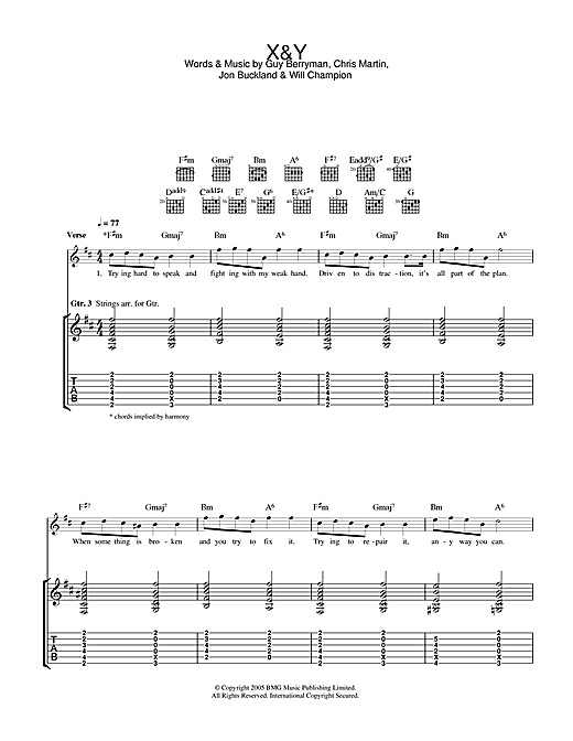 Tablature guitare X&Y de Coldplay - Tablature Guitare
