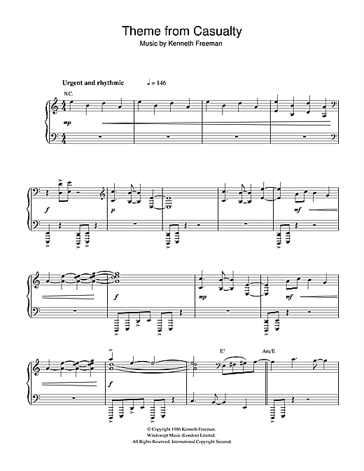 Theme from Casualty Sheet Music