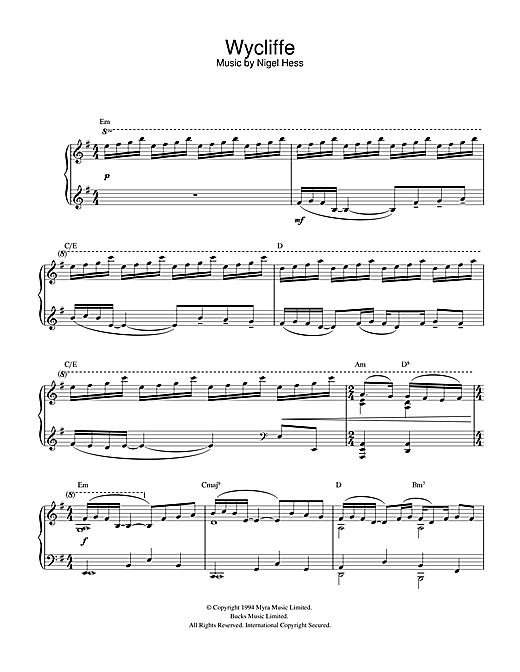 Theme from Wycliffe Sheet Music