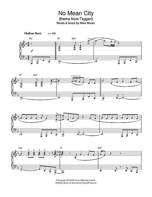 No Mean City (theme from Taggart) Sheet Music