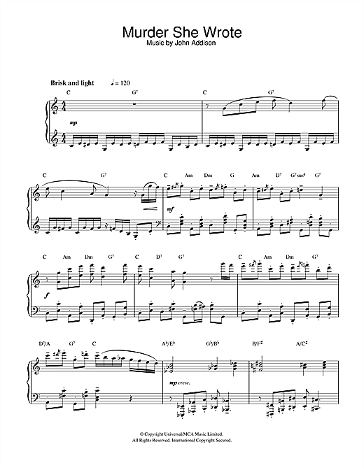Murder She Wrote Sheet Music